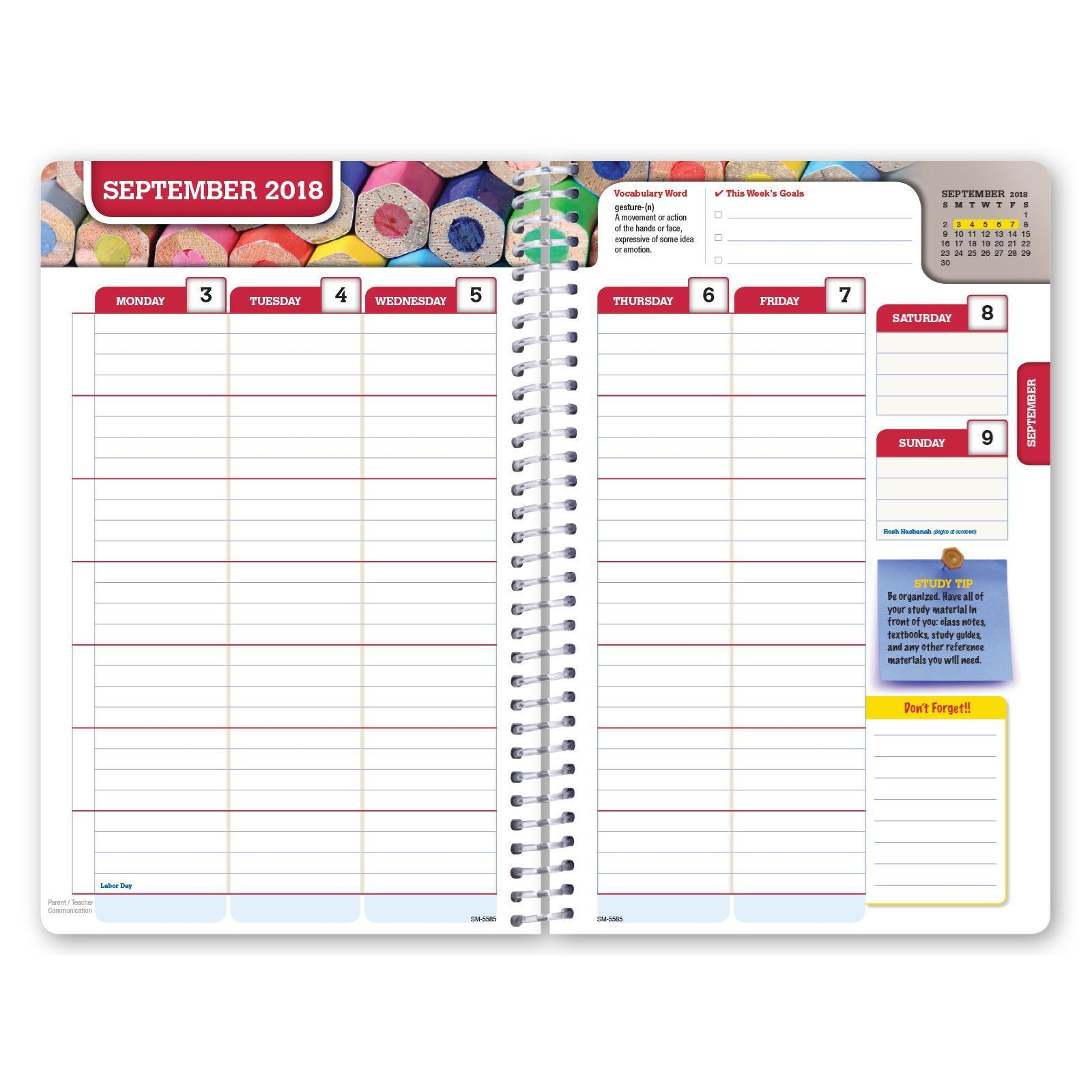 global printed products  hardcover dated middle school or high school student planner for