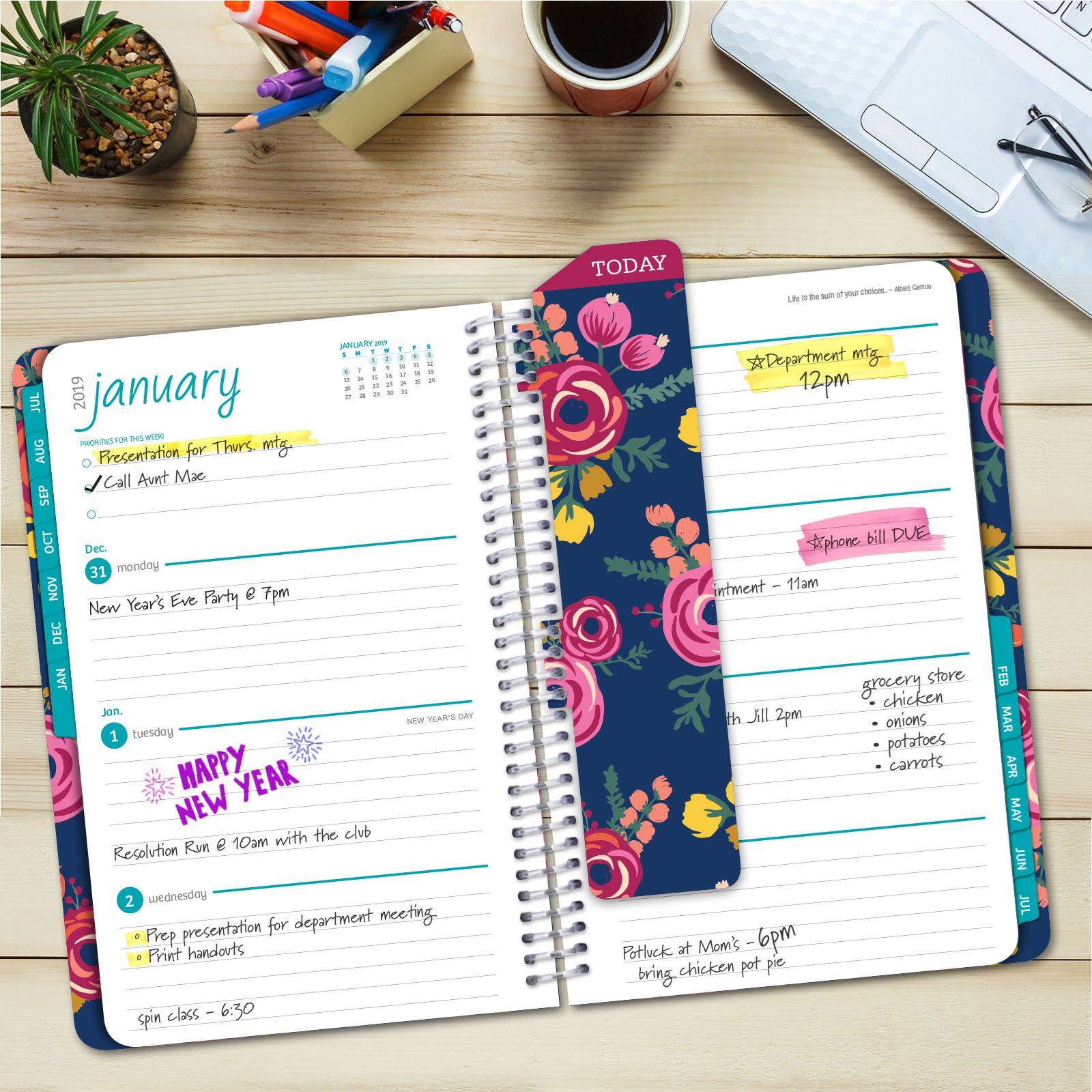Picture of HARDCOVER Academic Year Planner 2018-2019 (Bloom)