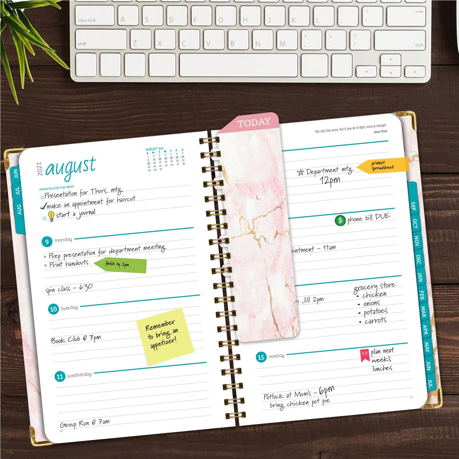 """Picture of HARDCOVER Academic Year 5.5""""x 8.5"""" Planner 2021-2022 (PINK MARBLE)"""