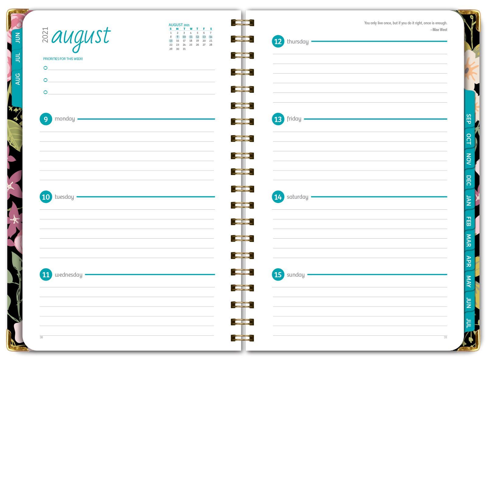 """Picture of HARDCOVER Academic Year 5.5""""x 8.5"""" Planner 2021-2022 (BLACK FLORAL)"""