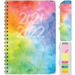 """Picture of HARDCOVER Academic Year 5.5""""x 8.5"""" Planner 2021-2022 (RAINBOW WATERCOLORS)"""