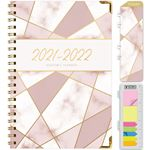 """Picture of HARDCOVER Academic Year 5.5""""x 8.5"""" Planner 2021-2022 (PINK MOSAIC TRIANGLES FOIL)"""